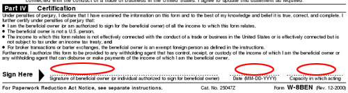 the beneficial owner is claiming the provisions of article